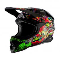0627-10 (Красный/зеленый, S), Шлем кроссовый O'NEAL 3SERIES CRANK 2.0, размер S, цвет красный
