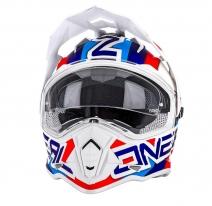 0817-30 (Белый/синий, M), Шлем кроссовый со стеклом Sierra II CIRCUIT
