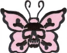 13542154, Нашивка Бабочка с черепом (розовая)