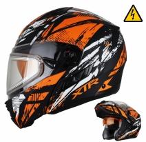 MODE1Tornado (стекло с электроподогревом, Термопластик, мат., Оранжевый/Чёрный, XXL), Снегоходный шлем модуляр с электростеклом MODE1 Tornado оранжевый матовый