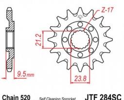284.14SC, Звезда передняя (ведущая) jtf284 для мотоцикла, стальная с самоочисткой
