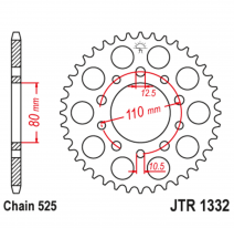 1332.38, Звезда задняя (ведомая),(сталь) JT 1332.38