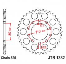 1332.44, Звезда задняя (ведомая),(сталь) JT 1332.44