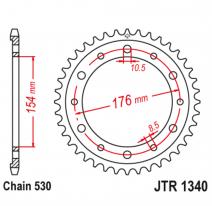 1340.45, Звезда задняя (ведомая),(сталь) JT 1340.45
