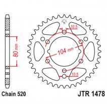 1478.40, Звезда задняя (ведомая),(сталь) JT 1478.40