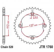 1760.36, Звезда задняя (ведомая),(сталь) JT 1760.36
