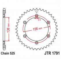 1791.43, Звезда задняя (ведомая),(сталь) JT 1791.43