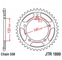 1800.44, Звезда задняя (ведомая),(сталь) JT 1800.44
