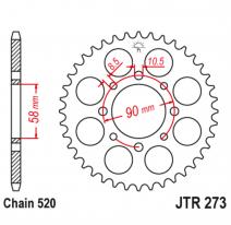 273.44, Звезда задняя (ведомая),(сталь) JT 273.44