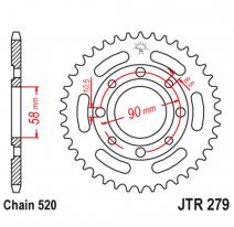 279.35, Звезда задняя (ведомая),(сталь) JT 279.35