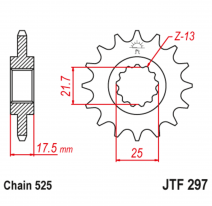 297.15RB, Звезда ведущая , с демпфером, JT 297.15RB