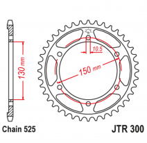 300.49, Звезда задняя (ведомая),(сталь) JT 300.49