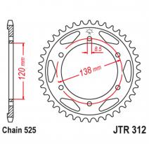 312.38, Звезда задняя (ведомая),(сталь) JT 312.38