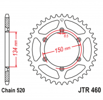 460.50SC, Звезда задняя (ведомая),(сталь) JT 460.50SC