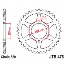 478.38, Звезда задняя (ведомая),(сталь) JT 478.38