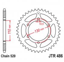 486.43, Звезда задняя (ведомая),(сталь) JT 486.43