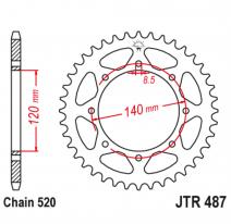 487.42, Звезда задняя (ведомая),(сталь) JT 487.42