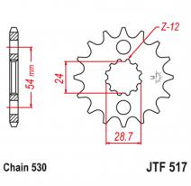 517.17RB, Звезда ведущая , с демпфером, JT 517.17RB