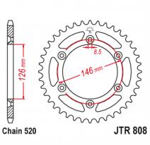 808.52, Звезда задняя (ведомая),(сталь) JT 808.52