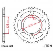 9.47, Звезда задняя (ведомая),(сталь) JT 9.47