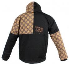 X80007 (Черный/Коричневый, размер XS), Куртка для езды на снегоходе SQUARE коричневая клетка.