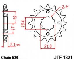 1321.13, Звезда передняя (ведущая) JTF1321 для мотоцикла, стальная