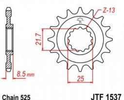 1537.16, Звезда передняя (ведущая) JTF1537 для мотоцикла, стальная