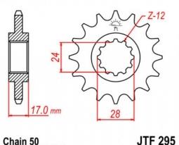 295.15, Звезда передняя (ведущая) jtf295 для мотоцикла, стальная