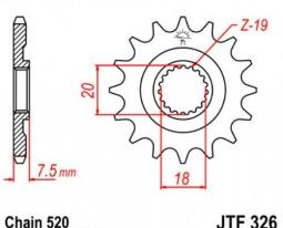 326.12, Звезда передняя (ведущая) jtf326 для мотоцикла, стальная