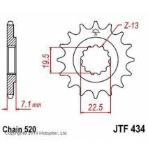 434.15, Звезда передняя (ведущая) JTF434 для мотоцикла, стальная