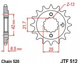 512.17, Звезда передняя (ведущая) jtf512 для мотоцикла, стальная