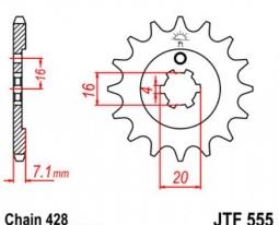 555.13, Звезда передняя (ведущая) JTF555 для мотоцикла, стальная