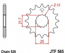 565.15, Звезда передняя (ведущая) jtf565 для мотоцикла, стальная