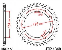 1340.43, Звезда задняя (ведомая),(сталь) JT 1340.43