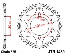 1489.41, Звезда задняя (ведомая),(сталь) JT 1489.41