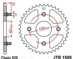 1509.41, Звезда задняя (ведомая) jtr1509 для мотоцикла стальная
