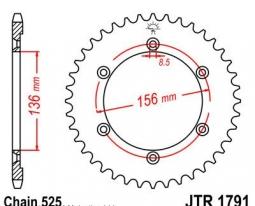 1791.41, Звезда задняя (ведомая) для мотоцикла jtr1791