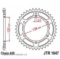 1847.46, Звезда задняя (ведомая) jtr1847 для мотоцикла стальная