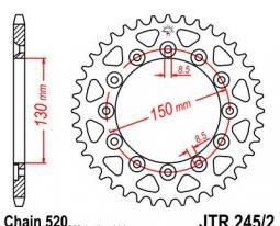 245/2.41, Звезда задняя (ведомая) JTR245/2 для мотоцикла стальная