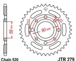279.31, Звезда задняя (ведомая) для мотоцикла стальная jtr279