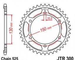 300.39, Звезда задняя (ведомая) jtr300 для мотоцикла стальная