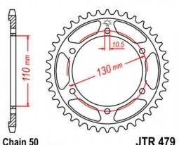 479.42, Звезда задняя (ведомая) jtr479 для мотоцикла стальная
