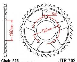 702.42, Звезда задняя (ведомая) для мотоцикла jtr702