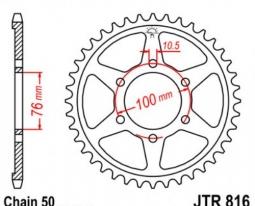 816.43, Звезда задняя (ведомая) jtr816 для мотоцикла стальная