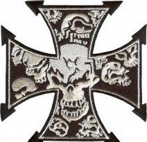 11841143, Нашивка Cross with skulls - Крест с черепами