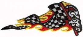 A3040, Нашивка пламенный череп  с флагом