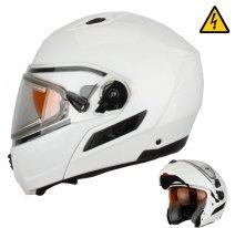 MODE1 (стекло с электроподогревом, Термопластик, глянец, Белый, XL), Снегоходный шлем модуляр с электростеклом MODE1 белый