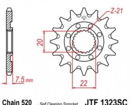 1323.14SC, Звезда передняя (ведущая) jtf1323 для мотоцикла, стальная c самоочисткой