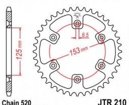 210.49, Звезда задняя (ведомая) jtr210 для мотоцикла стальная