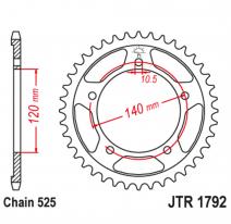 1792.43, Звезда задняя (ведомая),(сталь) JT 1792.43